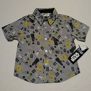 fda6f9865cd3 Disney Star Wars Button Down Baby Boy 18M